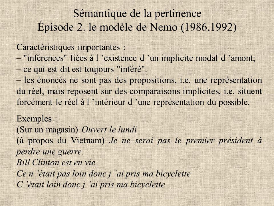Sémantique de la pertinence Épisode 2. le modèle de Nemo (1986,1992) Caractéristiques importantes : –