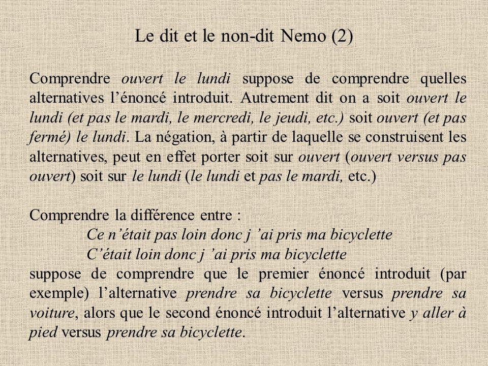 Le dit et le non-dit Nemo (2) Comprendre ouvert le lundi suppose de comprendre quelles alternatives l'énoncé introduit.