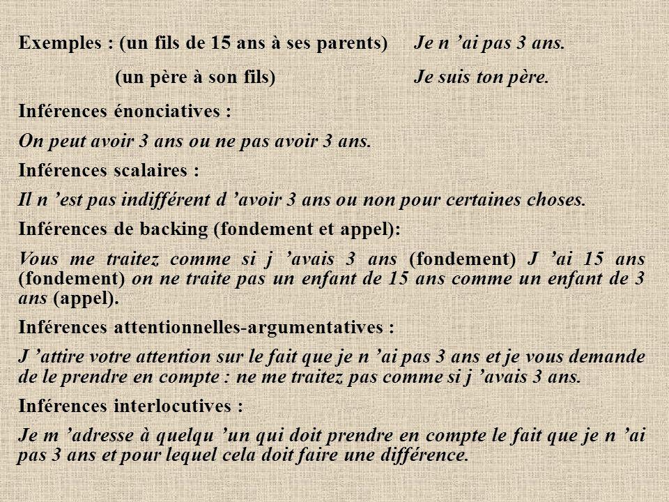 Exemples : (un fils de 15 ans à ses parents) Je n 'ai pas 3 ans. (un père à son fils) Je suis ton père. Inférences énonciatives : On peut avoir 3 ans