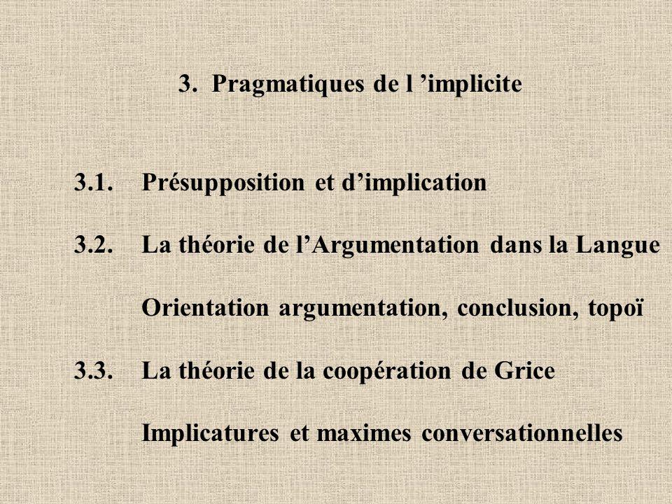 3. Pragmatiques de l 'implicite 3.1. Présupposition et d'implication 3.2. La théorie de l'Argumentation dans la Langue Orientation argumentation, conc