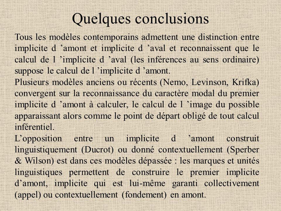 Tous les modèles contemporains admettent une distinction entre implicite d 'amont et implicite d 'aval et reconnaissent que le calcul de l 'implicite d 'aval (les inférences au sens ordinaire) suppose le calcul de l 'implicite d 'amont.