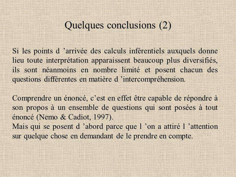 Si les points d 'arrivée des calculs inférentiels auxquels donne lieu toute interprétation apparaissent beaucoup plus diversifiés, ils sont néanmoins en nombre limité et posent chacun des questions différentes en matière d 'intercompréhension.