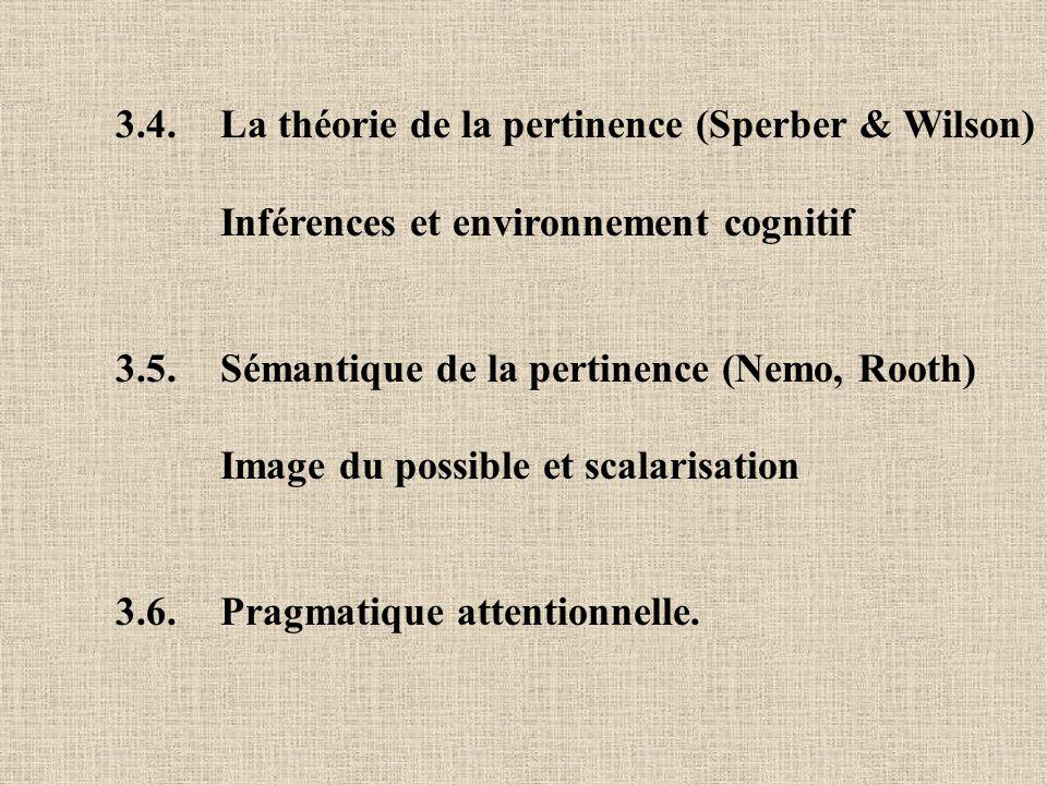 3.4. La théorie de la pertinence (Sperber & Wilson) Inférences et environnement cognitif 3.5. Sémantique de la pertinence (Nemo, Rooth) Image du possi