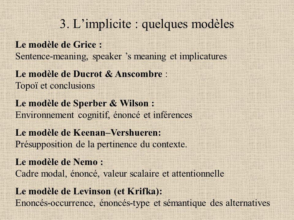 Le modèle de Grice : Sentence-meaning, speaker 's meaning et implicatures Le modèle de Ducrot & Anscombre : Topoï et conclusions Le modèle de Sperber