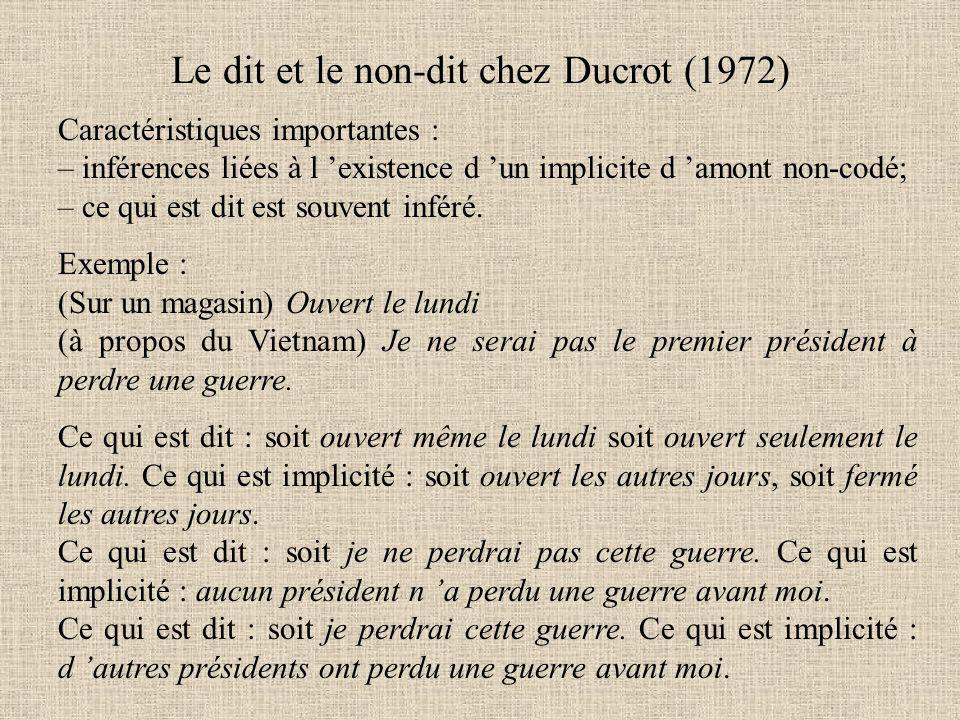 Le dit et le non-dit chez Ducrot (1972) Caractéristiques importantes : – inférences liées à l 'existence d 'un implicite d 'amont non-codé; – ce qui e