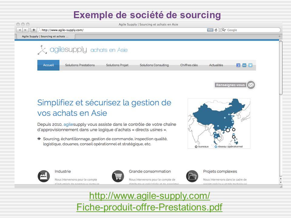 http://www.agile-supply.com/ Fiche-produit-offre-Prestations.pdf Exemple de société de sourcing