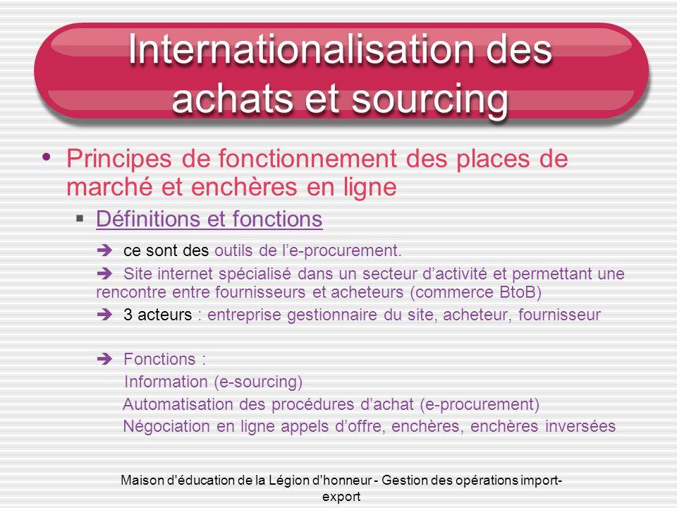 Maison d'éducation de la Légion d'honneur - Gestion des opérations import- export Internationalisation des achats et sourcing • Principes de fonctionn