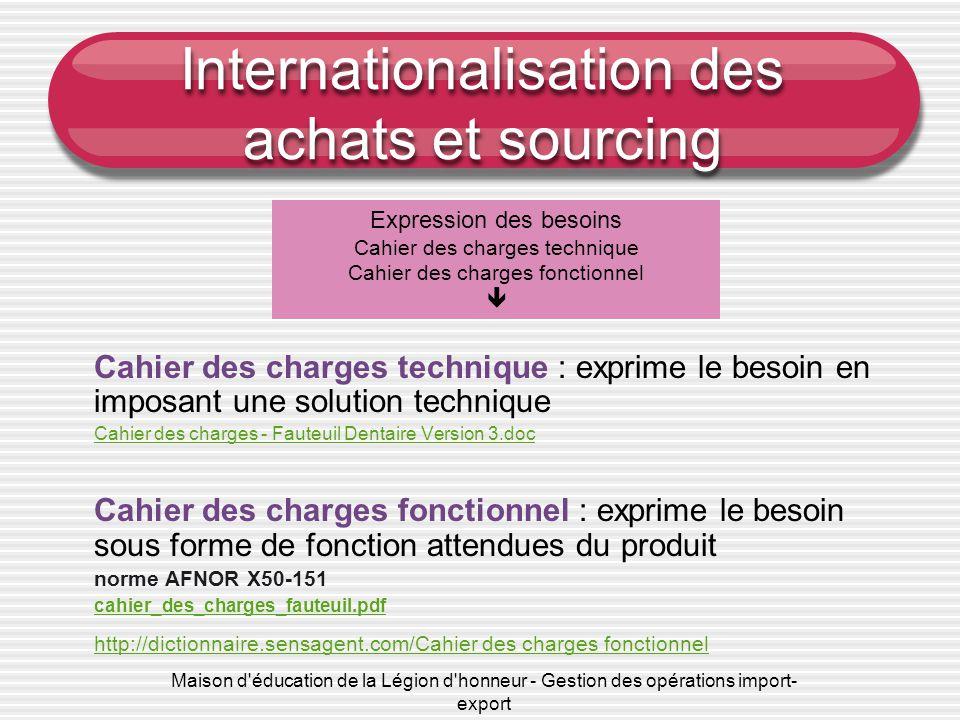 Maison d'éducation de la Légion d'honneur - Gestion des opérations import- export Internationalisation des achats et sourcing Cahier des charges techn