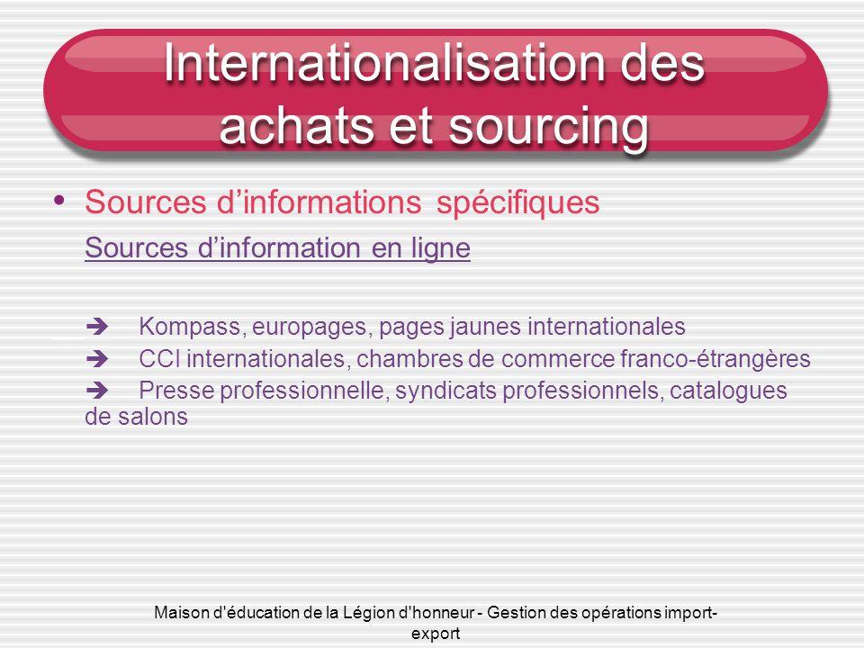 Maison d éducation de la Légion d honneur - Gestion des opérations import- export Internationalisation des achats et sourcing • Critères d'internationalisation • Sources d'informations spécifiques • e-sourcing