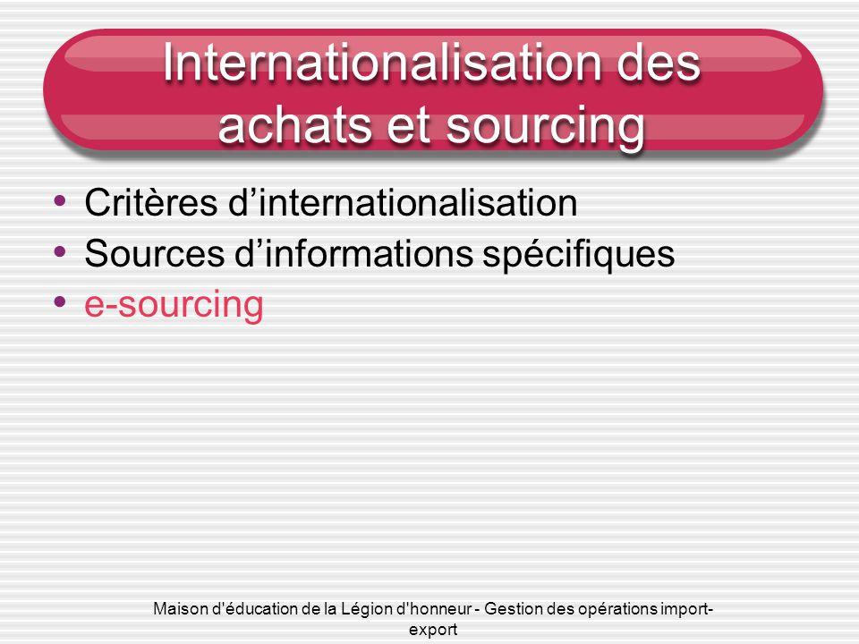 Maison d éducation de la Légion d honneur - Gestion des opérations import- export Internationalisation des achats et sourcing • e-sourcing :  Définitions  Processus
