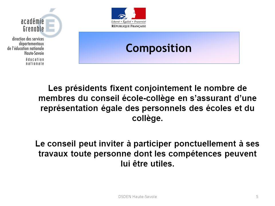 Composition 5DSDEN Haute-Savoie Les présidents fixent conjointement le nombre de membres du conseil école-collège en s'assurant d'une représentation é