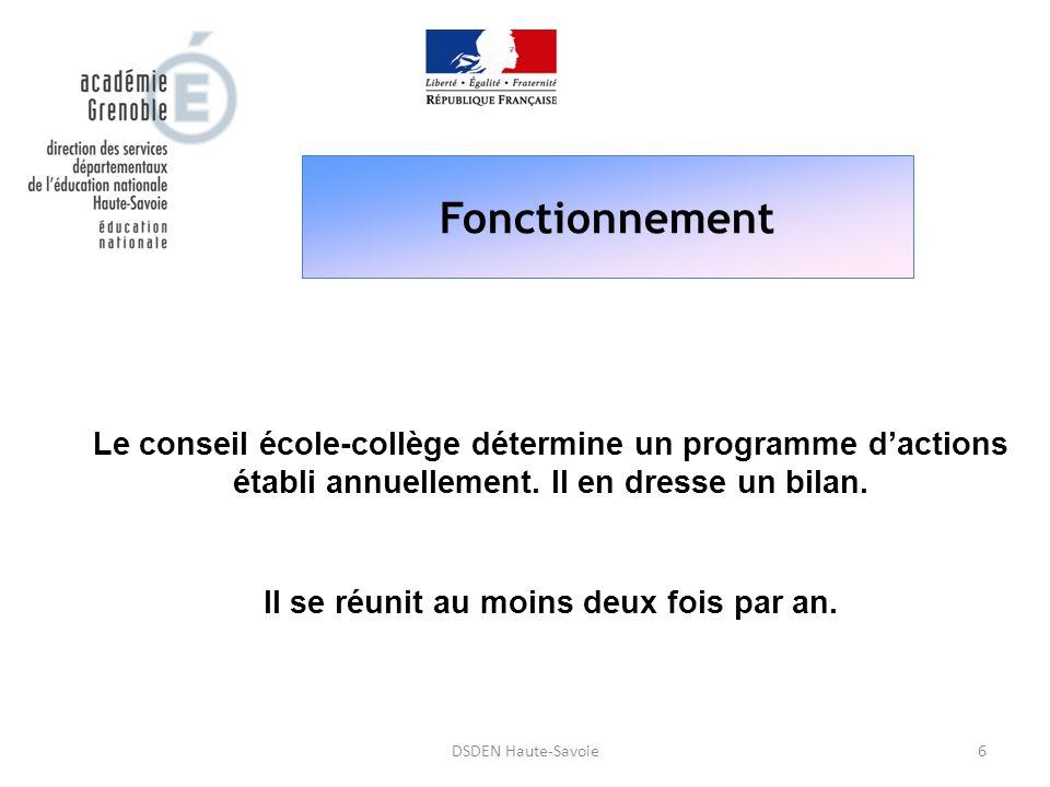 Fonctionnement 6DSDEN Haute-Savoie Le conseil école-collège détermine un programme d'actions établi annuellement. Il en dresse un bilan. Il se réunit