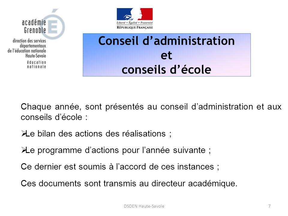 Conseil d'administration et conseils d'école 7DSDEN Haute-Savoie Chaque année, sont présentés au conseil d'administration et aux conseils d'école : 