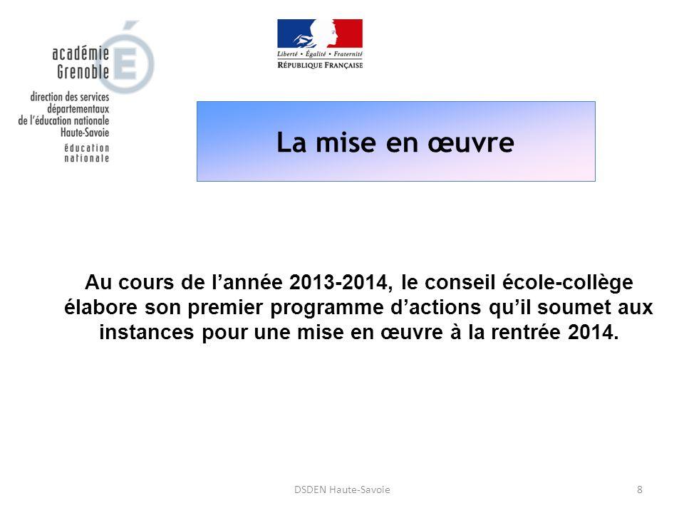 La mise en œuvre 8DSDEN Haute-Savoie Au cours de l'année 2013-2014, le conseil école-collège élabore son premier programme d'actions qu'il soumet aux