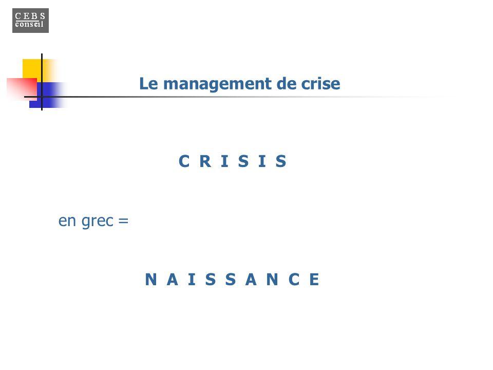 Le management de crise C R I S I S en grec = N A I S S A N C E