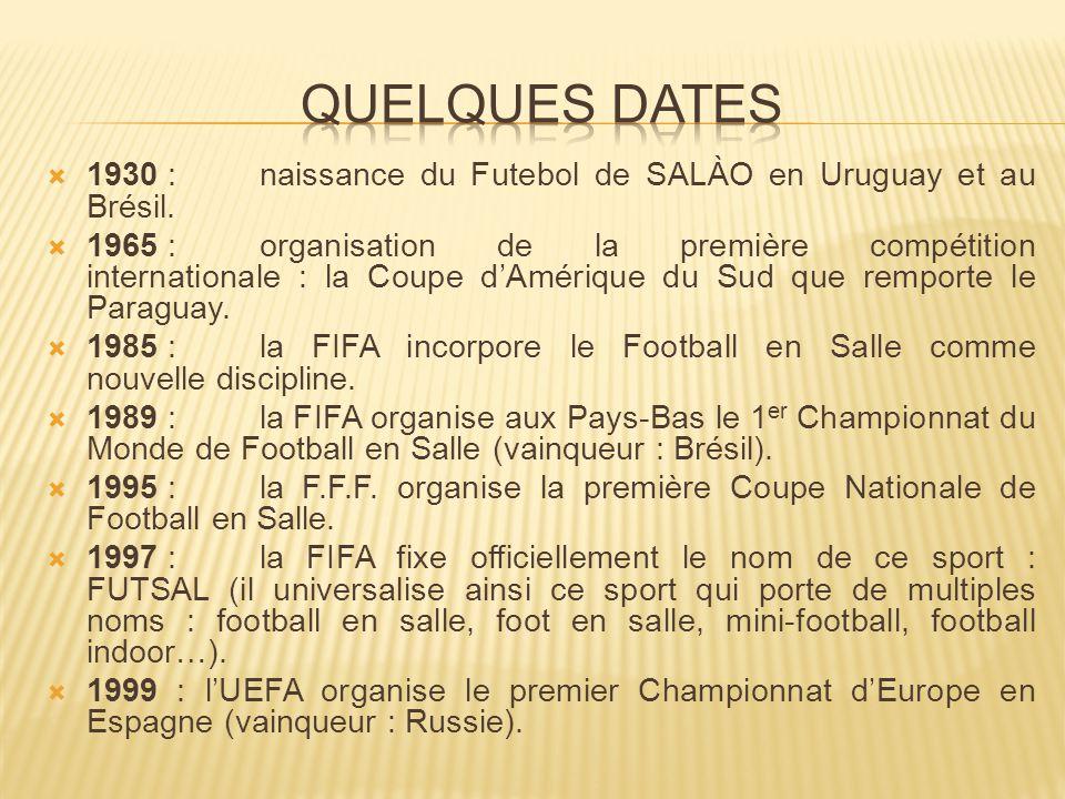  1930 : naissance du Futebol de SALÀO en Uruguay et au Brésil.  1965 : organisation de la première compétition internationale : la Coupe d'Amérique
