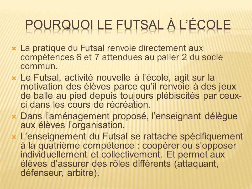  La pratique du Futsal renvoie directement aux compétences 6 et 7 attendues au palier 2 du socle commun.  Le Futsal, activité nouvelle à l'école, ag