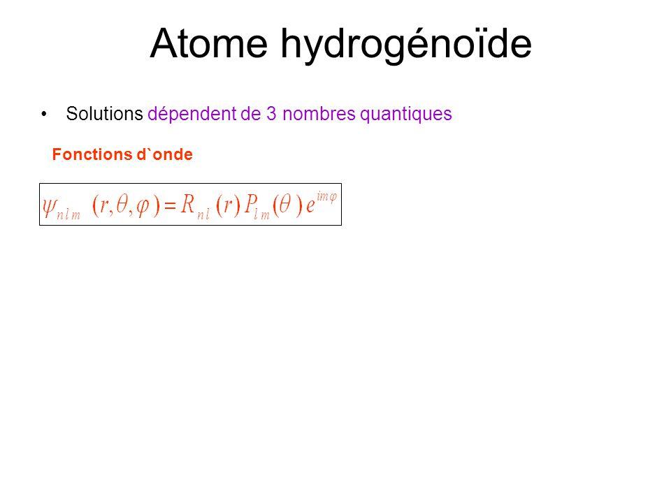 Atome hydrogénoïde •Solutions dépendent de 3 nombres quantiques Fonctions d`onde