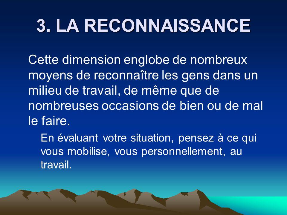 3. LA RECONNAISSANCE Cette dimension englobe de nombreux moyens de reconnaître les gens dans un milieu de travail, de même que de nombreuses occasions