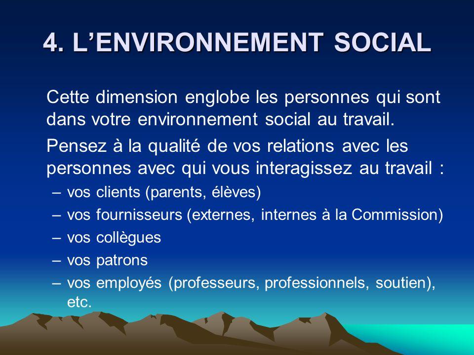 4. L'ENVIRONNEMENT SOCIAL Cette dimension englobe les personnes qui sont dans votre environnement social au travail. Pensez à la qualité de vos relati