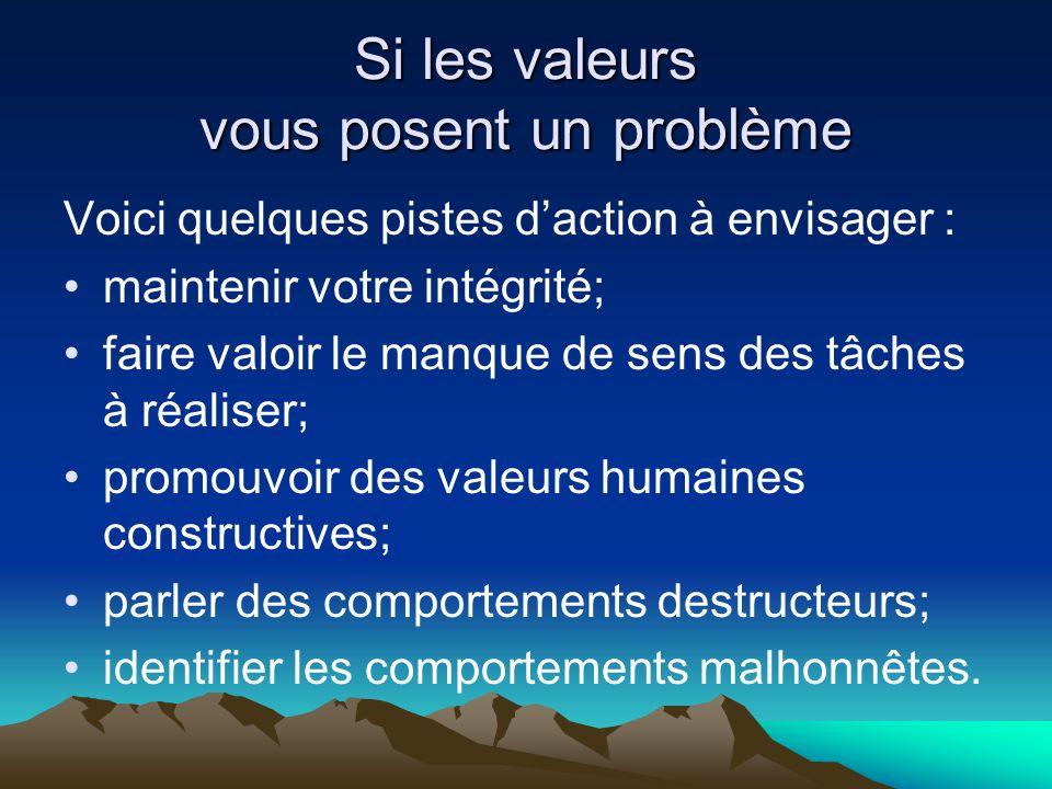 Si les valeurs vous posent un problème Voici quelques pistes d'action à envisager : •maintenir votre intégrité; •faire valoir le manque de sens des tâ