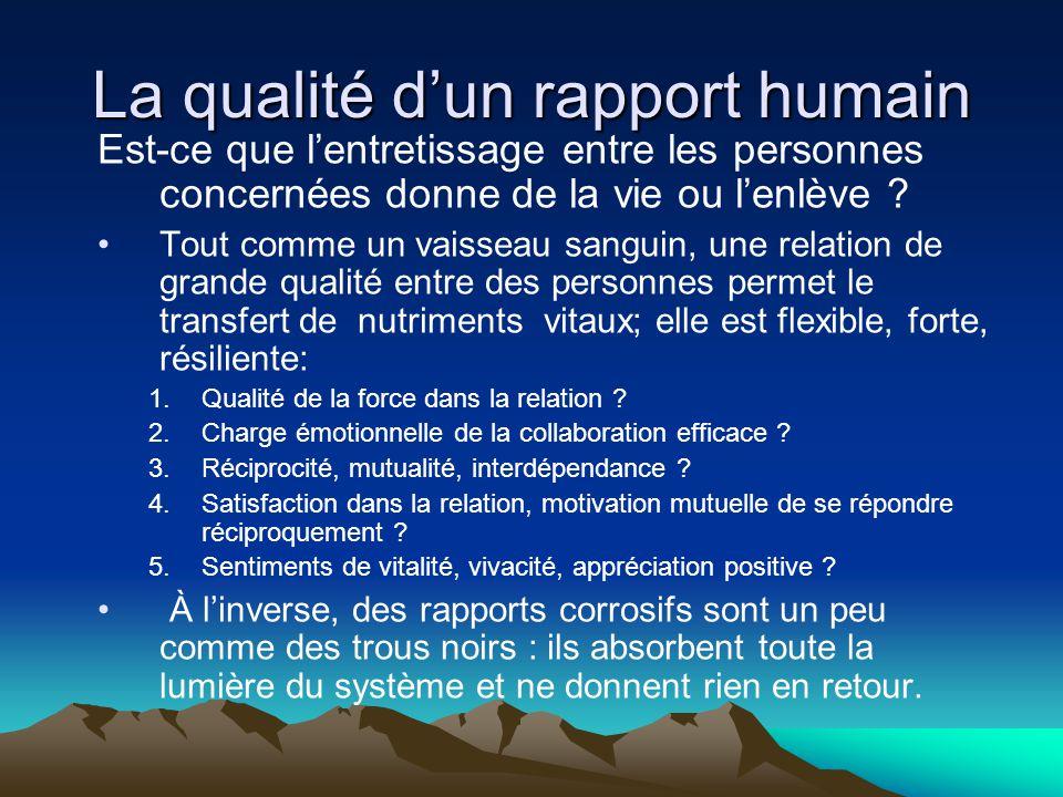La qualité d'un rapport humain Est-ce que l'entretissage entre les personnes concernées donne de la vie ou l'enlève ? •Tout comme un vaisseau sanguin,