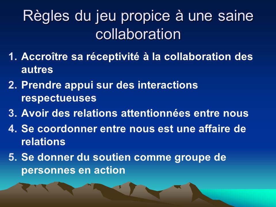Règles du jeu propice à une saine collaboration 1.Accroître sa réceptivité à la collaboration des autres 2.Prendre appui sur des interactions respectu