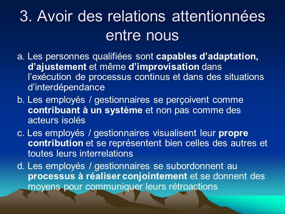 3. Avoir des relations attentionnées entre nous a. Les personnes qualifiées sont capables d'adaptation, d'ajustement et même d'improvisation dans l'ex