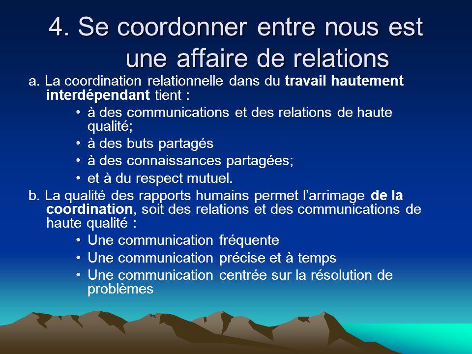 4. Se coordonner entre nous est une affaire de relations a. La coordination relationnelle dans du travail hautement interdépendant tient : •à des comm