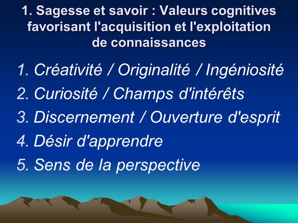 1. Sagesse et savoir : Valeurs cognitives favorisant l'acquisition et l'exploitation de connaissances  Créativité / Originalité / Ingéniosité  Cur