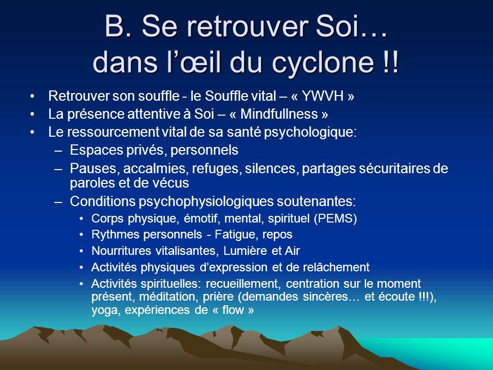 B. Se retrouver Soi… dans l'œil du cyclone !! •Retrouver son souffle - le Souffle vital – « YWVH » •La présence attentive à Soi – « Mindfullness » •Le
