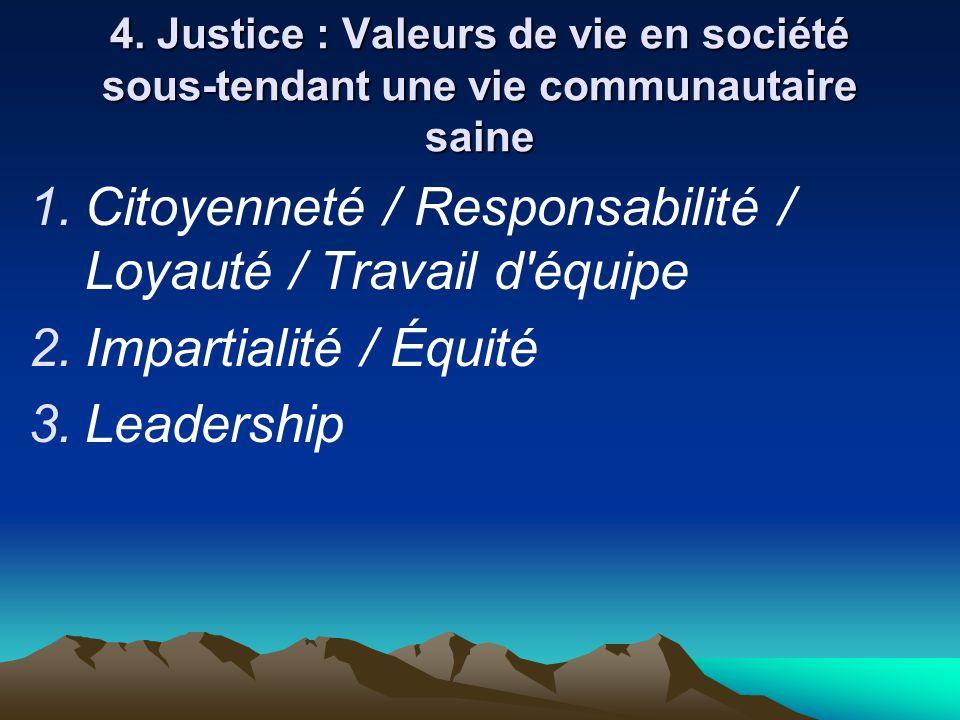 4. Justice : Valeurs de vie en société sous-tendant une vie communautaire saine  Citoyenneté / Responsabilité / Loyauté / Travail d'équipe  Impart
