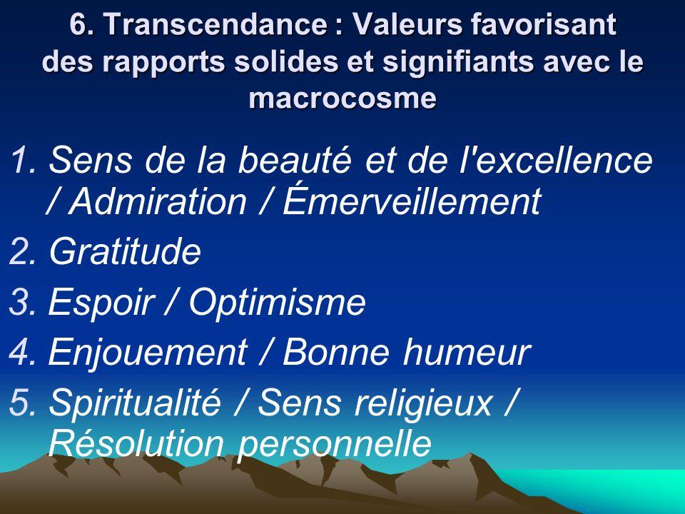 6. Transcendance : Valeurs favorisant des rapports solides et signifiants avec le macrocosme  Sens de la beauté et de l'excellence / Admiration / Ém