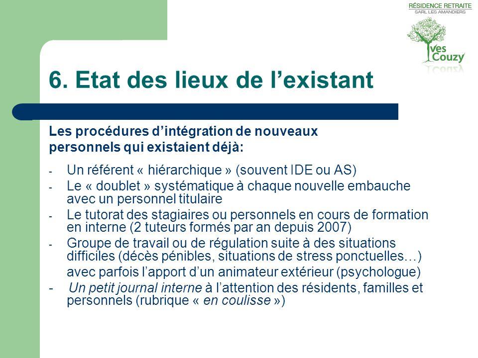 6. Etat des lieux de l'existant Les procédures d'intégration de nouveaux personnels qui existaient déjà: - Un référent « hiérarchique » (souvent IDE o
