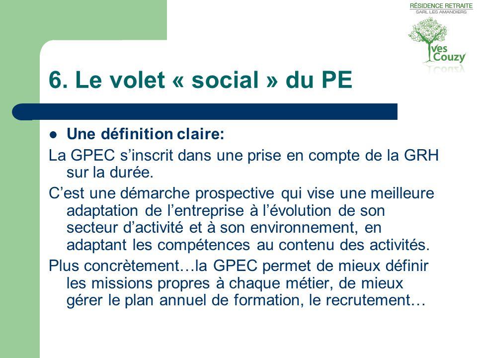 6. Le volet « social » du PE  Une définition claire: La GPEC s'inscrit dans une prise en compte de la GRH sur la durée. C'est une démarche prospectiv