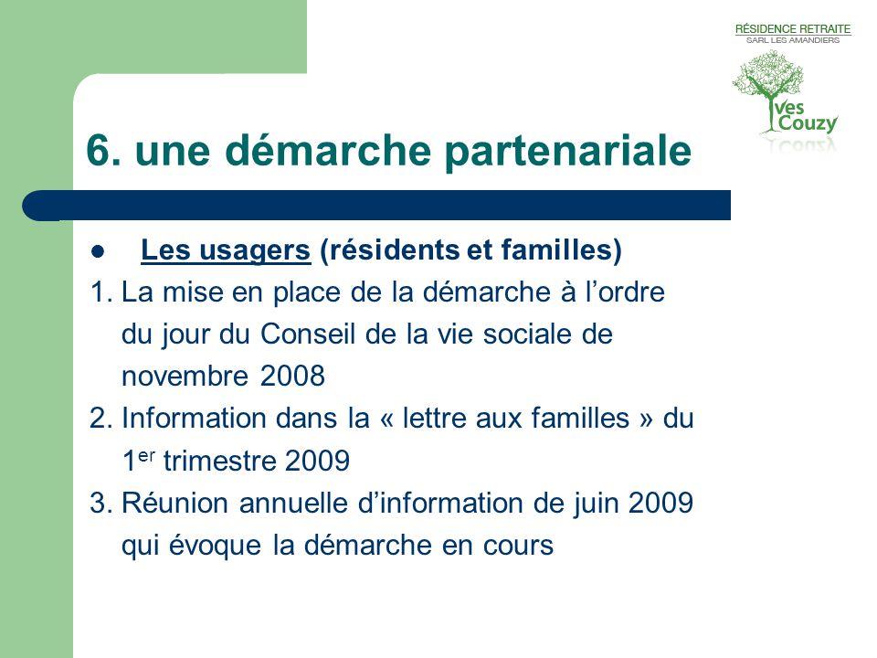 6.une démarche partenariale  Les usagers (résidents et familles) 1.