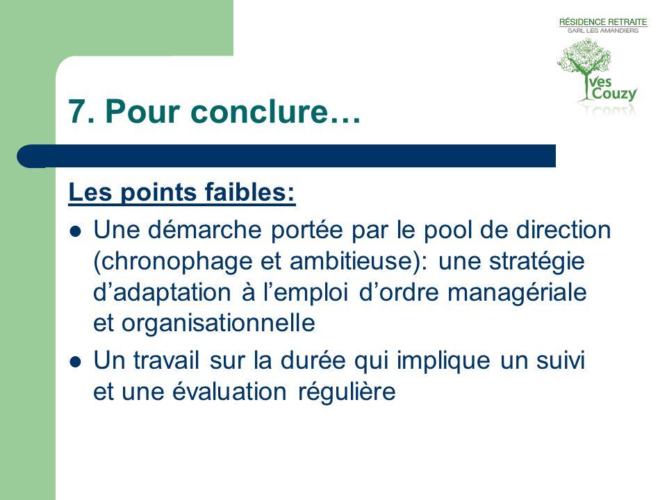 7. Pour conclure… Les points faibles:  Une démarche portée par le pool de direction (chronophage et ambitieuse): une stratégie d'adaptation à l'emplo
