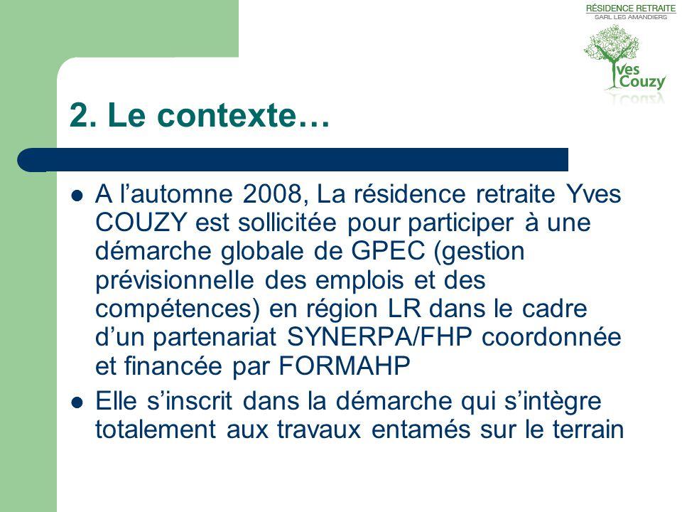 2. Le contexte…  A l'automne 2008, La résidence retraite Yves COUZY est sollicitée pour participer à une démarche globale de GPEC (gestion prévisionn
