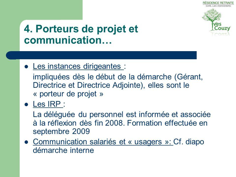 4. Porteurs de projet et communication…  Les instances dirigeantes : impliquées dès le début de la démarche (Gérant, Directrice et Directrice Adjoint