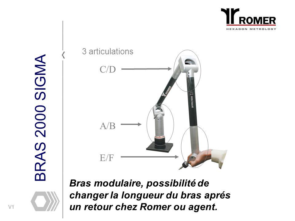 V1 BRAS 2000 SIGMA 3 articulations C/D A/B E/F Bras modulaire, possibilité de changer la longueur du bras aprés un retour chez Romer ou agent.