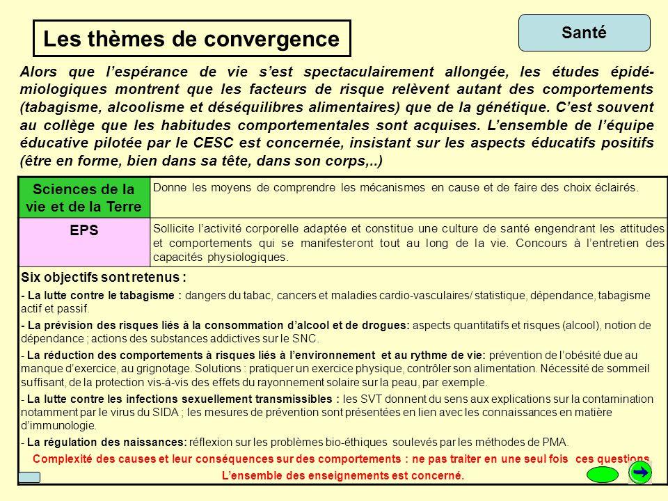 Les thèmes de convergence …mode de pensée statistique … Sciences physiques L'incertitude dans le phénomène que l'on va observer, la dispersion naturelle des mesures sont pris en compte.