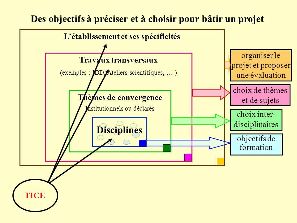 Un outil pour construire un projet d'établissement cohérent, fondé sur la mise en relation des objectifs de formation des disciplines et les besoins des élèves dans l'établissement Les IA-IPR de l'académie de Lyon 2005