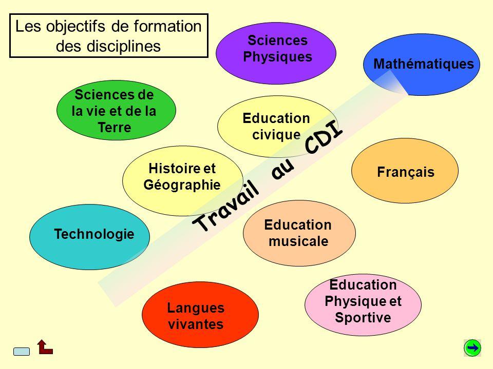 Chaque discipline définit ses objectifs de formation en terme d'acquisition de connaissances et de méthodes ainsi que ses objectifs éducatifs.