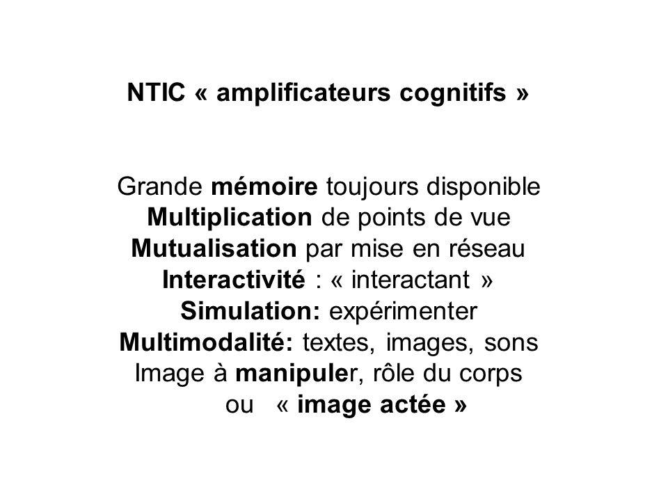 NTIC « amplificateurs cognitifs » Grande mémoire toujours disponible Multiplication de points de vue Mutualisation par mise en réseau Interactivité :
