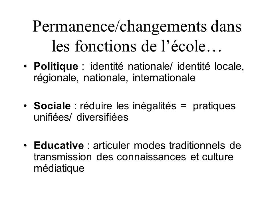 Permanence/changements dans les fonctions de l'école… •Politique : identité nationale/ identité locale, régionale, nationale, internationale •Sociale