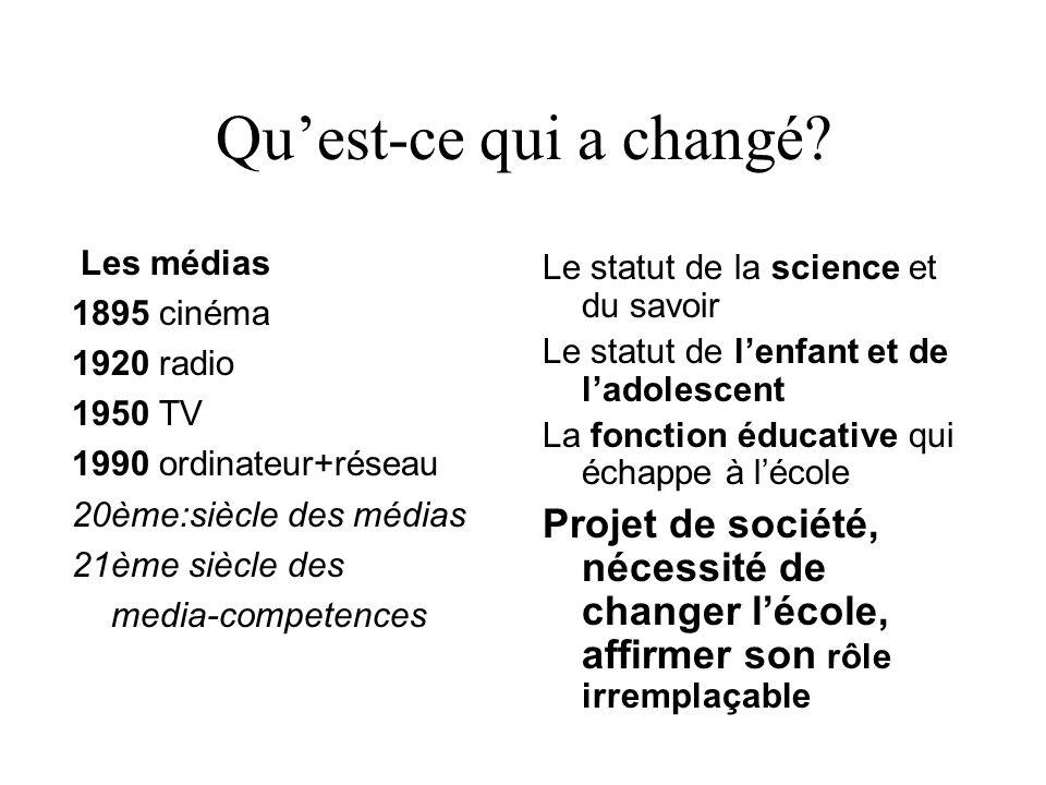 Qu'est-ce qui a changé? Les médias 1895 cinéma 1920 radio 1950 TV 1990 ordinateur+réseau 20ème:siècle des médias 21ème siècle des media-competences Le