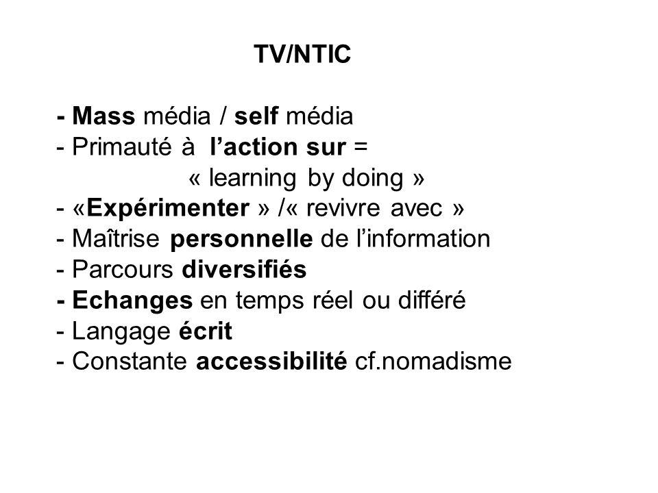 TV/NTIC - Mass média / self média - Primauté à l'action sur = « learning by doing » - «Expérimenter » /« revivre avec » - Maîtrise personnelle de l'in
