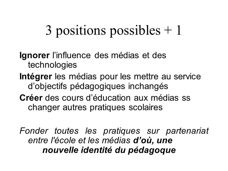 3 positions possibles + 1 Ignorer l'influence des médias et des technologies Intégrer les médias pour les mettre au service d'objectifs pédagogiques i
