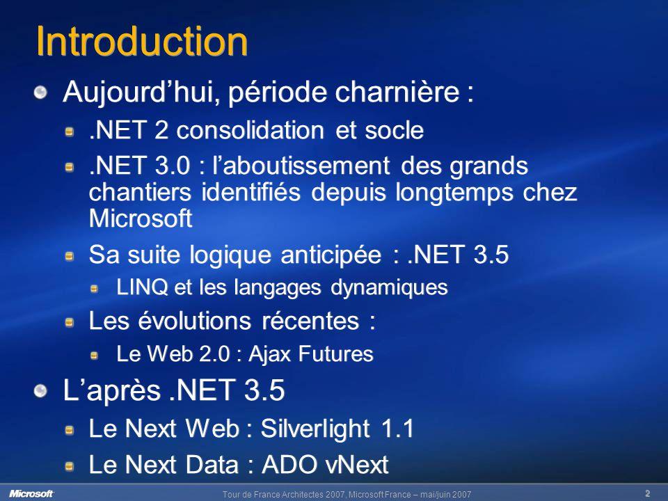 Tour de France Architectes 2007, Microsoft France – mai/juin 2007 2 Introduction Aujourd'hui, période charnière :.NET 2 consolidation et socle.NET 3.0 : l'aboutissement des grands chantiers identifiés depuis longtemps chez Microsoft Sa suite logique anticipée :.NET 3.5 LINQ et les langages dynamiques Les évolutions récentes : Le Web 2.0 : Ajax Futures L'après.NET 3.5 Le Next Web : Silverlight 1.1 Le Next Data : ADO vNext Aujourd'hui, période charnière :.NET 2 consolidation et socle.NET 3.0 : l'aboutissement des grands chantiers identifiés depuis longtemps chez Microsoft Sa suite logique anticipée :.NET 3.5 LINQ et les langages dynamiques Les évolutions récentes : Le Web 2.0 : Ajax Futures L'après.NET 3.5 Le Next Web : Silverlight 1.1 Le Next Data : ADO vNext