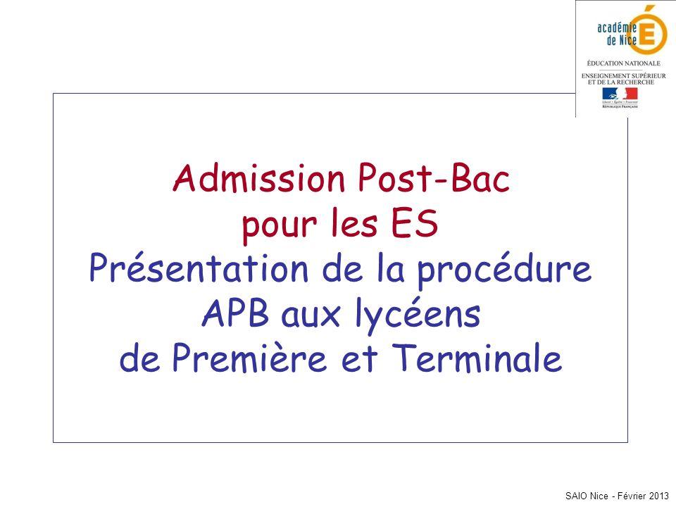 SAIO Nice - Février 2013 Admission Post-Bac pour les ES Présentation de la procédure APB aux lycéens de Première et Terminale